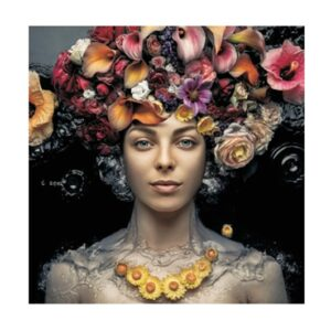 Glass picture lady with flowers 120×120