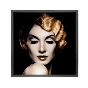 Canvas picture 5cm black frame golden hair 120×120