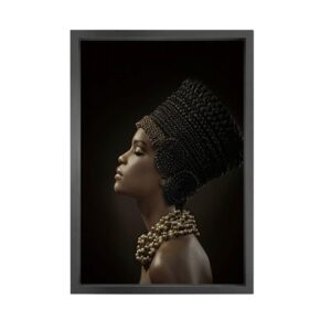 Canvas picture 5cm black frame african lady 80×120