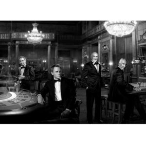 Glass picture All James Bond actors 90cm x 180cm