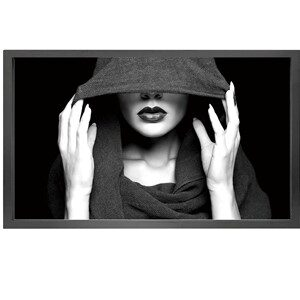 Canvas picture 5cm black frame girl with scarf 90 cm x 150cm
