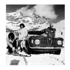 Glass picture Alfa Romeo winter girls and ski 120cm x 120cm