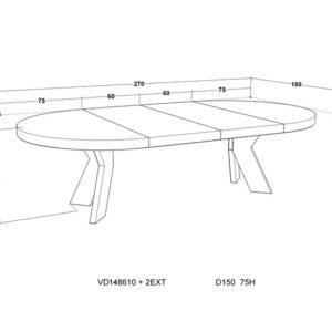 Spisebord Valencia Ø:150, H75 sort eikefiner +2 x B60