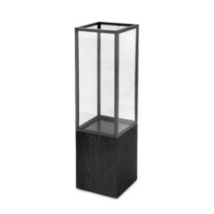 Lanterne for gulv sort eikefiner 30cmx30cmx111cm