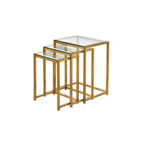 Settbord Andora Gold / Glass Sett av 3 bord