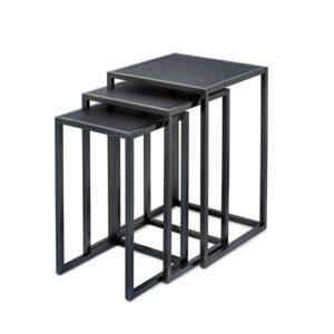 Settbord Springfield sort metall sort eikefi sett av 3 bord