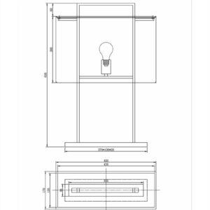Bordlampe Aruba H65cm Firkant 2 pinner sort hvit skjerm