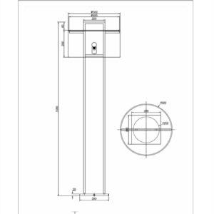Gulvlampe Aruba H168cm Rund 2 pinner sort hvit skjerm