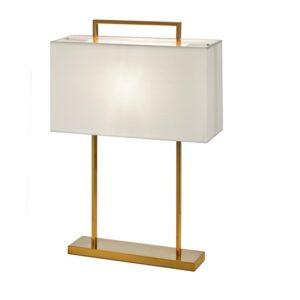 Bordlampe Aruba H65cm Firkant 2 pinner gull hvit skjerm