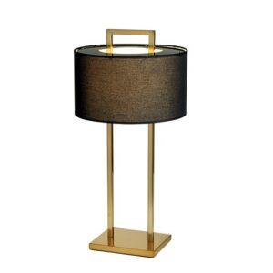 Bordlampe Aruba H70cm Rund 2 pinner gull sort skjerm