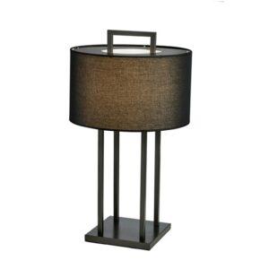 Bordlampe Aruba H70cm Rund sort 4 pinner sort skjerm