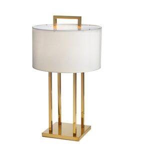 Bordlampe Aruba H70cm Rund gull 4 pinner hvit skjerm