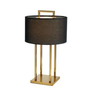 Bordlampe Aruba H70cm Rund gull 4 pinner sort skjerm