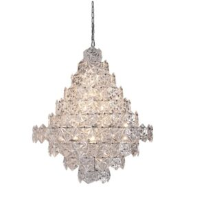 Taklampe Krakow crystal glass with steel D60 x H75CM