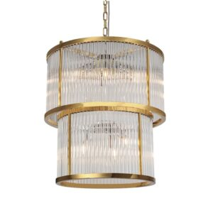 Taklampe Corona D55 x H60CM Gold clear glass