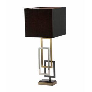 Bordlampe Sevilla gull h90cm med 35cm firkant sort skjerm