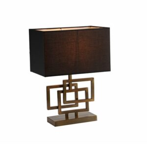 Bordlampe Granada gull h48cm skjerm 40x20cm firkant sort