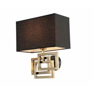 Vegg lampe Granada gull h38cm skjerm 38x18cm firkant sort