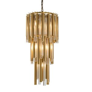 Taklampe Macon D35 x H68CM gold metal and clear glass