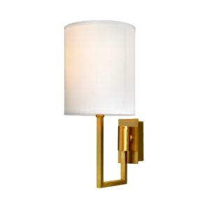 Vegg lampe Dublin L13xW18xH30CM gull med hvit skjerm