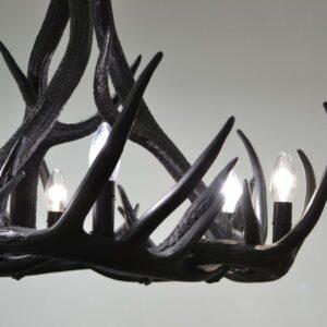 Sort gevir taklampe – 9 gevir, 6 lys (ø72×65)